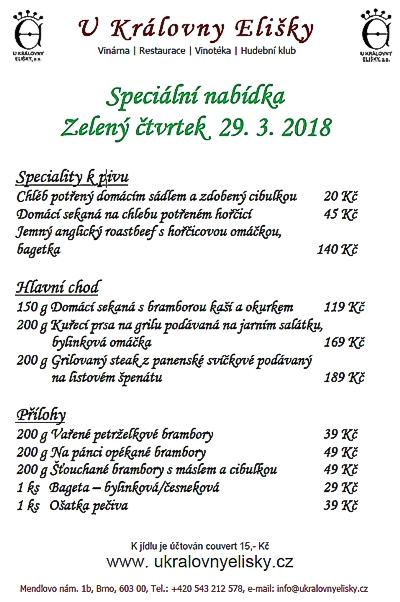 Zelený čtvrtek - menu 2018