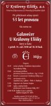 Pozvánka na 53. galavečer U Královny Elišky - pátek 14. 9. 2018 od 18.30 h